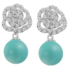 Korean wings crystal blue pearl earings gold filled dangle womens stud earrings