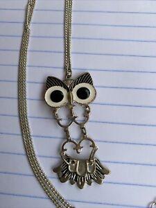 "Vintage Silver Tone Black White Enameled  Owl Pendant Necklace 11"""