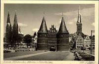 Lübeck Schleswig Holstein s/w Postkarte ~1950/60 Holstentor Marien Petri Kirche