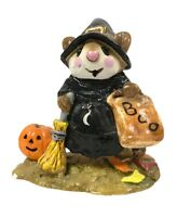 Wee Forest Folk M-120 Witchy Boo! Black Witch Pumpkin Halloween Sm. Chip On Base