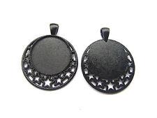 5 x Dark Black 25mm Round Pentagram Pendant Trays Blank Cameo Cabochon Setting
