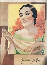 ORIGINAL BEAU MONDE HOSIERY FULL COLOUR PRINT ADVERTISING 1935 stockings fashion