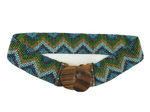 Anthropologie Mosaic Beaded Stretch Belt Wood Buckle Aztec Boho Indie Inspired
