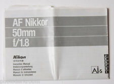 Nikon Nikkor 50mm 1:1.8 AIS Instruction Manual Book - Multilingual USED B38