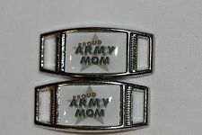 """""""Proud Army Mom"""" w/lg. star Rectangle shoelace charm pair (2) shoes/paracord"""