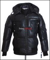 Pilot 6 Puffer Black Men's New Hooded Bomber Winter Real Lambskin Leather Jacket