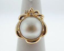 Estate 13mm Mabe Pearl Diamonds Solid 14k Yellow Gold Cocktail Ring