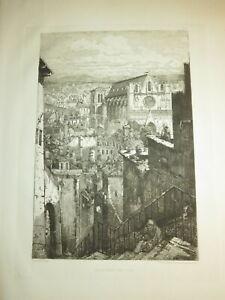 Gabrielle-Marie NIEL (1840–1894) GRANDE EAU FORTE LYON ST JEAN ELEVE MERYON 1870