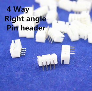 100 pcs of XH 2.5mm 4-Pin JST Right-Angle PCB Socket Male Connector