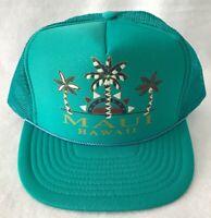 Maui Hawaii Trucker Snap Back Hat Cap Teal Vintage 80s 90s Surf Beach Nissin