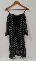 Angie Shift Dress Size M Black & White Front Tie Cold Shoulder Short Sleeve Lace