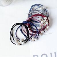 5PCS/Set Elastic Pearl Bowknot Rope Ring Band Hair Ties Ponytail Holder Acces