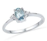 Aquamarine & Diamond Ring 10K White Gold Blue Aquamarine Oval Gemstone Ring