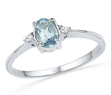 Aquamarine & Diamond Ring 10K White Gold Blue Aquamarine Oval Gemstone Ring