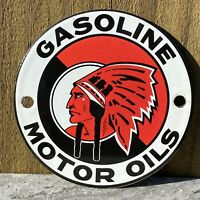 """VINTAGE McCOLL-FRONTENAC OIL PORCELAIN METAL SIGN 4"""" RED CHIEF GAS STATION PUMP"""