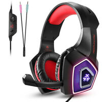 3.5mm Gaming Headset MIC LED Headphones V1 for PC Mac Laptop PS4 Xbox One 3DS