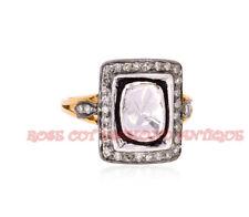 VINTAGE ANTIQUE ROSE CUT DIAMOND 0.93ct SILVER 925 ATTRACTIVE POLKI WEDDING RING