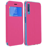 Window flip case, flip wallet case with stand for Samsung Galaxy A7 2018 - Pink
