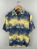Puritan Vintage Men's Short Sleeve Hawaiian Shirt - Size S - Yellow Blue Floral