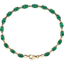 14 k gold lab grown emerald 7.25 inches bracelet