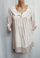 FOREVER NEW SIZE 8 CREAM SATIN TRIM LONG SLEEVE TUNIC TOP PARTY CASUAL WEAR