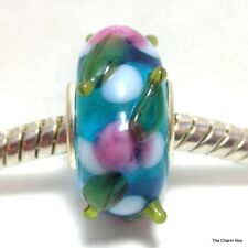 Clear Blue with raised flower/leaf design  Murano Glass European Bracelet Bead