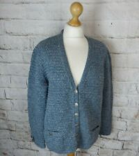 Stunning Vintage blue chunky cable hand knit wool blend cardigan 16 M L celtic