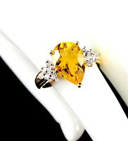 14K SOLID YELLOW GOLD 2.75 CT PEAR CUT CITRINE .24 CTW DIAMOND COCKTAIL RING - 7
