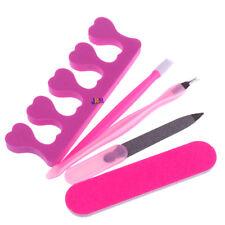 5pc Nail Manicura Pedicura Cutícula Removedor Uñas File Tool Conjunto de Tenedor muertas de la piel