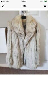 Silver Fox fur coat made by Saga size 14
