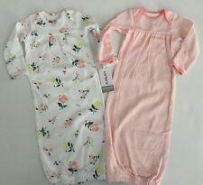 Carter's Baby Girls Sleep Gowns Sack Size NEWBORN 0-3 Months OS Floral Coral