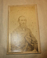 1800s CDV A Seated Man Graying Beard Simple Cloth Coat Buttoned & Unbuttoned