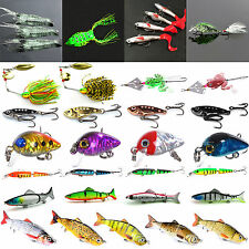 Minnow Fishing Lures Hook Bass Spoon Baits Fish Shrimp Frog Crankbait Tackle New