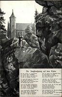 Oybin Ansichtskarte 1917 Darstellung und Geschichte Jungfernsprung auf dem Oybin