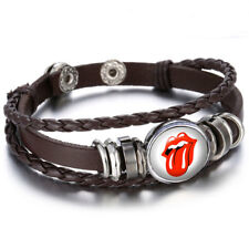 bracelet cuir brun, rolling stones,bouton pression, snaps, chunk