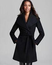 Calvin Klein Lux Boiled Wool Wrap Black Coat Size 12