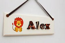 Children's wooden jungle themed bedroom door sign name plaque: lion illustration