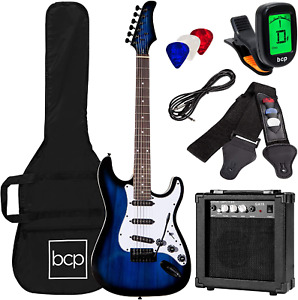 39 Inch Beginner Electric Guitar Starter Kit With Case 10W Amp Tremolo Bar Blue