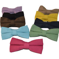 Men Solid Candy Color Bow Tie Linen Cotton Adjustable Wedding Bowtie Necktie