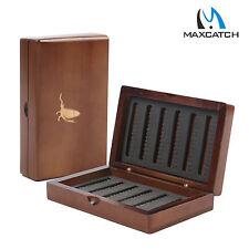 Wooden Fly Fishing Box Pocket Size Fly Box Slit Foam Insert Double Side 168flies