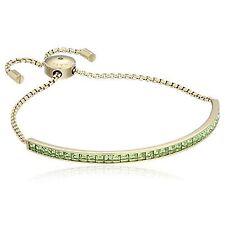 Michael Kors Gold Green Crystal Princess Cut Slider Bracelet MKJ5401710 NWT