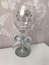 Personalised Glitter Wine Glass - Worlds Best Mum Mummy Grandma Nana Auntie Ect