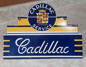 VINTAGE CADILLAC SALES AND SERVICE PORCELAIN SIGN