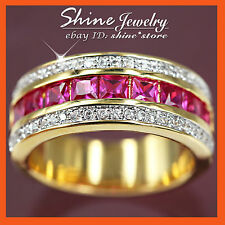 Band Ruby Yellow Gold Filled Fashion Rings