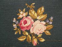 Vintage Antique Needlepoint Footstool Tapestry Queen Ann Pink Roses repaired