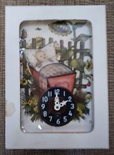 """Vintage Reuge Musical Clock - """"Baby in Crib with Sunflowers"""" - Plays Edelweiss!"""