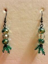 Teal, White, Dangled, Glass Beads Black Pewter Plated Dangled Earrings