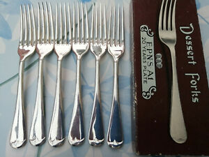 6 x Antique Silver Plated Dessert Forks - Old English Pattern - S&B Sheffield