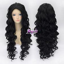 Lolita Black Long 80CM Curly Hair Fashion Women Cosplay Wig + Wig Cap FAST SHIP