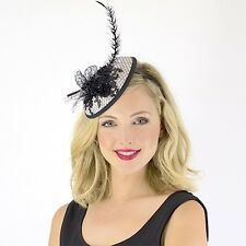 Jendi Ladies Black & White Formal Racing Wedding Derby Day Fascinator Headband